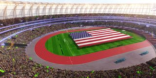 People hold USA flag in stadium arena. field 3d photorealistic render. Illustration royalty free illustration