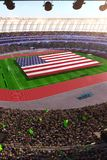 People hold USA flag in stadium arena. field 3d photorealistic render royalty free illustration