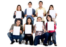 People holding a banner Royalty Free Stock Photography