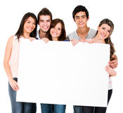 People holding a banner Stock Photo