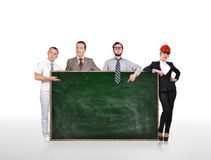 People holding blank green board Royalty Free Stock Images