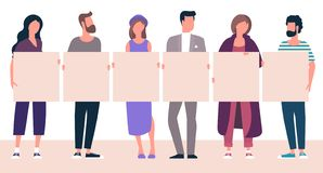 People holding blank white banner royalty free stock photo