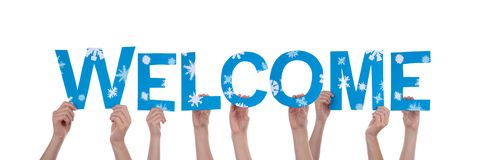 People Holding Blue Welcome Stock Image