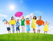 People Holding Colorful Empty Speech Bubble Royalty Free Stock Photos
