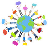 People Holding Colourful Speech Bubbles and Earth Stock Images