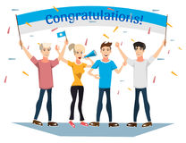 People holding congratulation sign. Royalty Free Stock Images