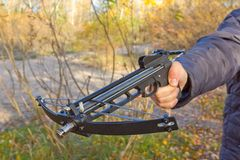 People  holding a crossbow Stock Photos