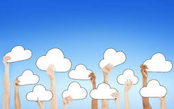 People Holding Empty Cloud Symbols Stock Photography