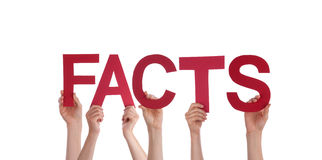 People Holding Facts. Many People Holding the Red Word Facts, Isolated Royalty Free Stock Photography