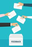 People holding feedback papers and putting them into ballot box vector illustration