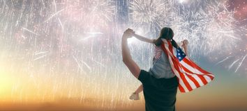 People holding the Flag of the USA royalty free stock photography