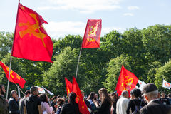 People holding flags and listen an anti-Erdogan Demonstration in royalty free stock photos