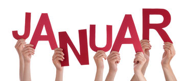 People Holding German Word Januar Means January Royalty Free Stock Photography