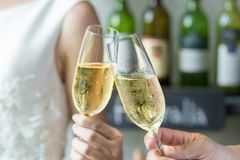 People holding glasses of champagne making a toast Royalty Free Stock Photography