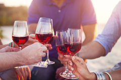 People holding glasses of red wine making a toast at the beach. Picnic Stock Image