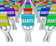People Holding Habits Words Successful Routines Achieve Goals Stock Photos