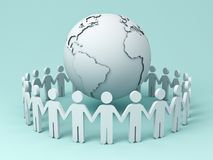 People Holding Hands Around Globe on blue background Royalty Free Stock Image