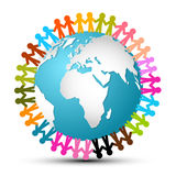 People Holding Hands Around Globe. Earth Vector Royalty Free Stock Photography