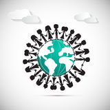 People Holding Hands Around Globe. With Paper Clouds Royalty Free Stock Photos