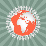 People Holding Hands Around Globe Royalty Free Stock Images