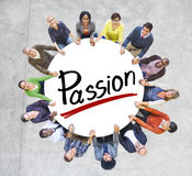 People Holding Hands Around Letter Passion Stock Image
