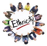 People Holding Hands Around Word Ethnicity. Group of People Holding Hands Around Word Ethnicity Royalty Free Stock Images