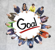 People Holding Hands Around the Word Goal Royalty Free Stock Photos