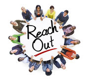 People Holding Hands Around the Word Reach out Royalty Free Stock Images