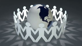 People holding hands around the world. 3d video clip of people holding hands around a revolving world stock illustration