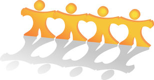 People holding hands making together hearts shapes Royalty Free Stock Photography