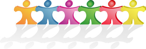 People holding hands making together hearts shapes Royalty Free Stock Photos