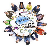 People Holding Hands and Teamwork Concepts Stock Image