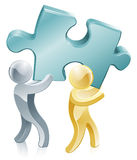 People holding jigsaw piece. Illustration of two people people holding a big jigsaw piece Royalty Free Stock Photos