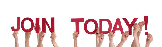 People Holding Join Today. Many People Holding the Red Words Join Today, Isolated Stock Image