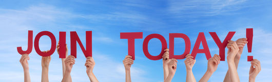 People Holding Join Today in the Sky. Many People Holding the Red Words Join Today in the Sky Royalty Free Stock Photo