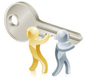 People holding key. Illustration of two people people holding a big key Royalty Free Stock Image