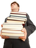 People holding large number of books. People  holding a large number of books on white Stock Photo