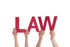 People Holding Law. Many People Holding the Red Word Law, Isolated Stock Photos