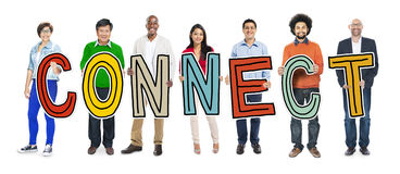 People Holding Letter with Connect Concept Stock Photo