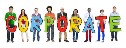 People Holding Letter with Corporate Concepts Stock Photo