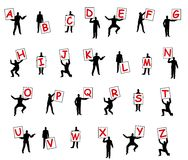 People Holding Letters of Alphabet stock illustration