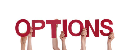 People Holding Options. Many People Holding the Word Options, On White Stock Images