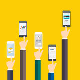 People holding a phone. Business flat vector Royalty Free Stock Images
