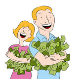 People Holding Piles of Money Royalty Free Stock Images