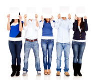 People holding posters Royalty Free Stock Photos