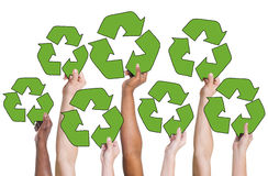 People Holding Recycling Symbol and Concepts Royalty Free Stock Photo