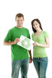 People holding recycling symbol Royalty Free Stock Images