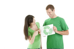People holding recycling symbol Stock Images