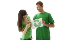 People holding recycling symbol Stock Image