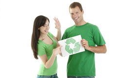 People holding recycling symbol Stock Photo